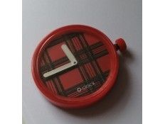 Esfera intercambiable para Reloj O Clock. Estampado escoses rojo